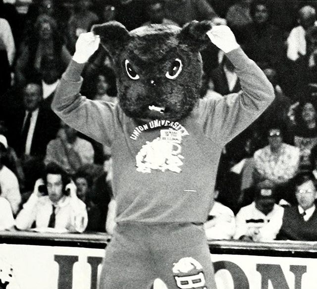Buster cheering for the team in this 1990 photo.