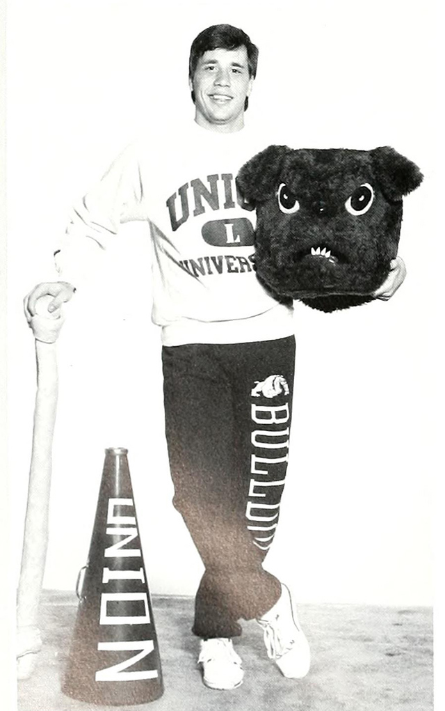 1990 Mr. Union, Steve Steiner, posing with the Buster outfit he sported.