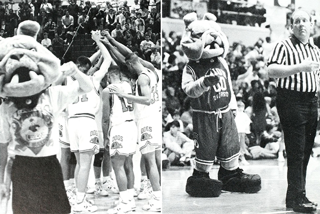 Two photos of an old Buster suit, 1991 and 1995.