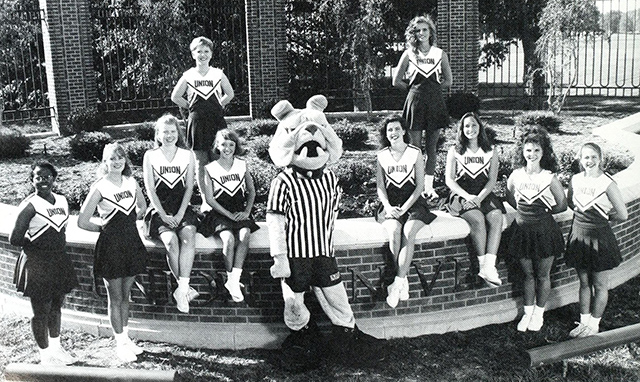 Buster with the cheerleaders in 1994