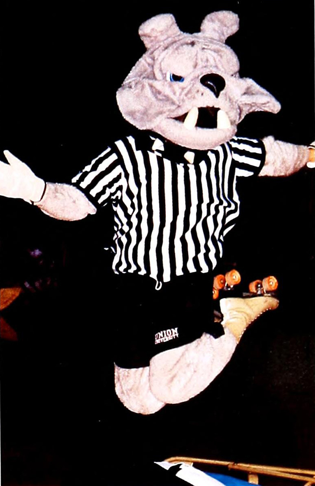 Buster goofing off on roller skates in this 1994 photo.