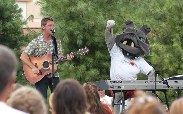 Buster goofs off with Steven Curtis Chapman at a concert at Union.