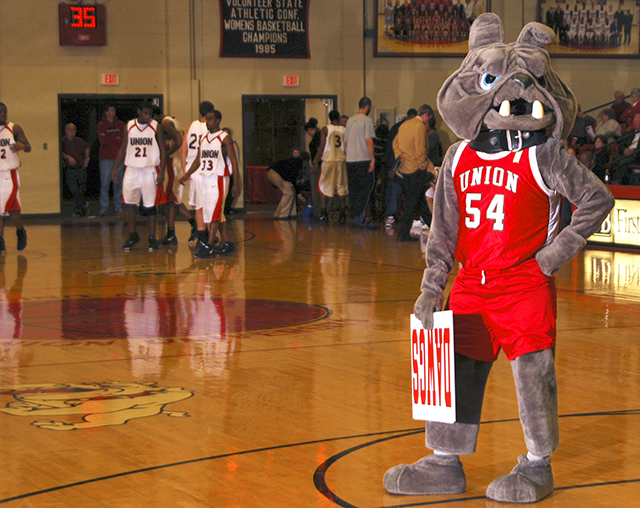 Buster takes a break from cheering in this 2007 photo