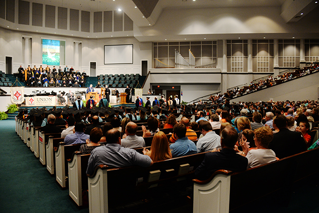 Friends and Family of graduates gather in West Jackson Baptist Church for Summer Commencement.