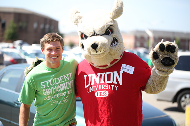 Buster posing with an SGA officer