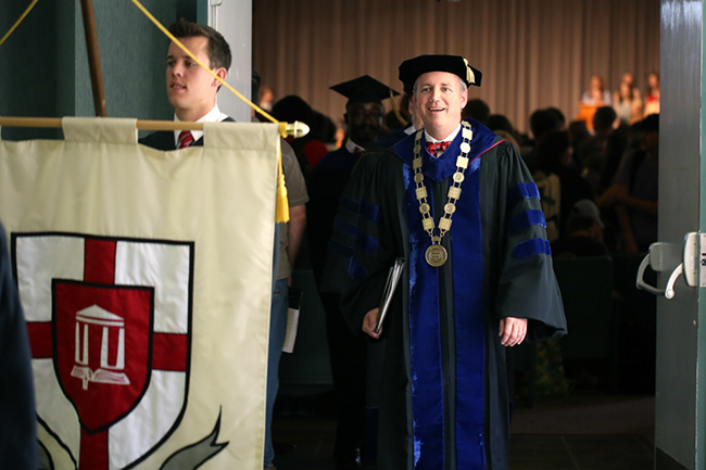 Dr. Dub Oliver leaving Convocation