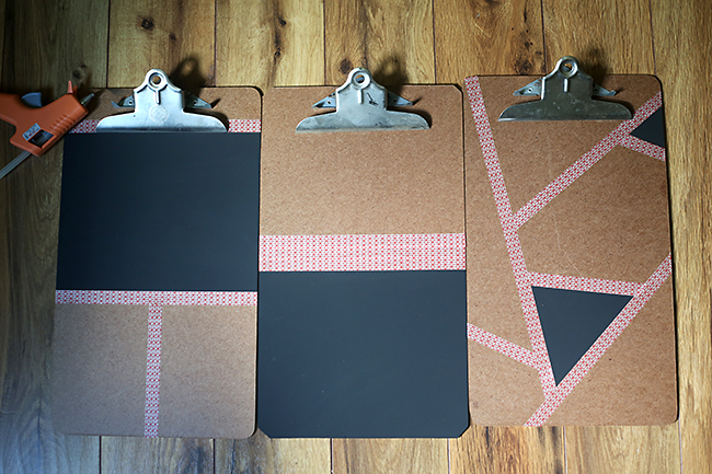 Boards shown with washi tape and chalkboard paint applied