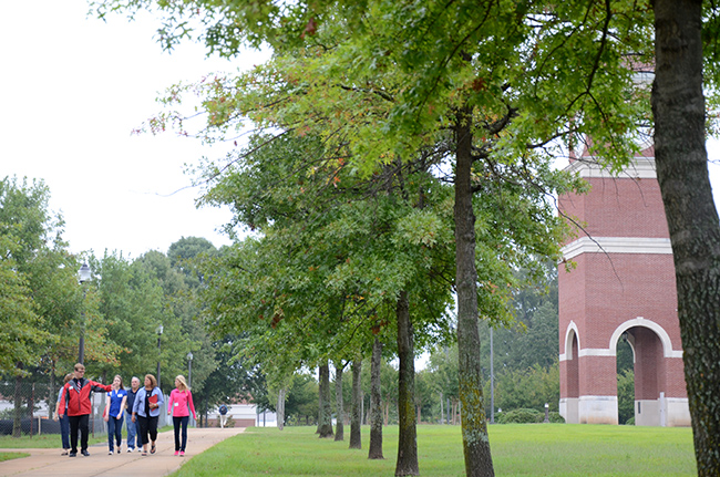 September 2014 Preview day tour group passes Miller Tower
