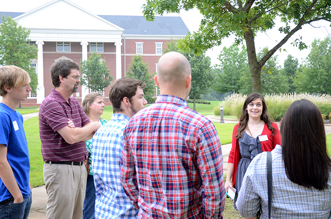 September 2014 Preview Day tour group outside of Jennings and White Halls.
