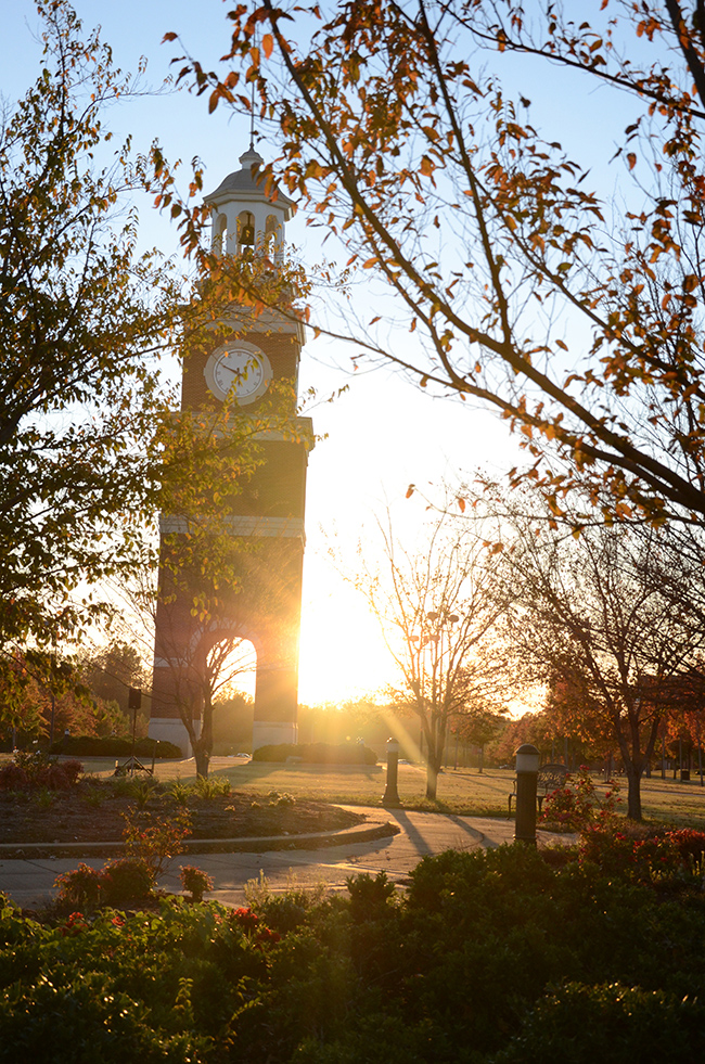 Miller Tower in the fall at Sunset