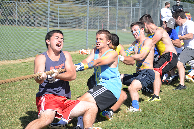 Men of ATO compete during Greek Olympics
