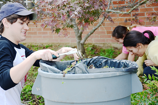 Students work on a community service project at an elementary school