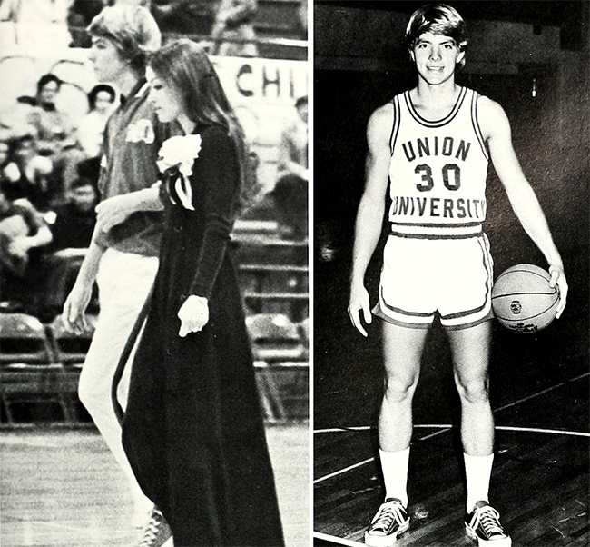 Grisham's basketball photo and a photo of him escorting his wife at homecoming