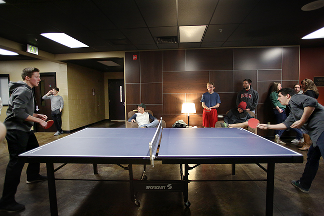 Students participate in a Ping Pong tournament in the Bowld Student Commons.