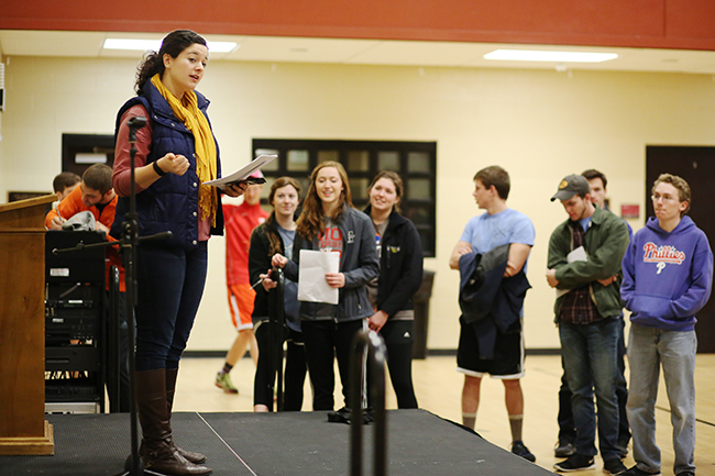 Kayla McKinney lays out the rules of the Amazing Race game that took students all over campus.