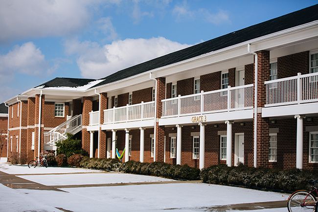 A residence hall in the snow.