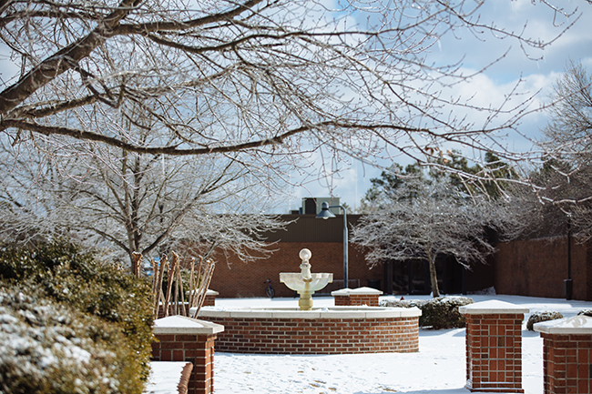 The fountain area in the snow