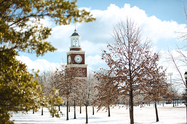 Miller Tower in the snow