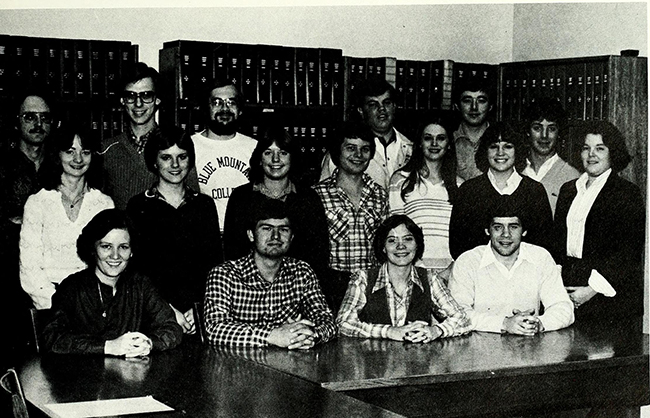 Rogers with Phi Beta Chi members in 1981 yearbook