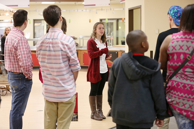 Student ambassador gives a tour of the cafeteria