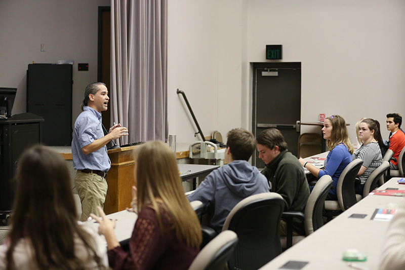 Fonsie Guilaran teaches a sample class to prospective students