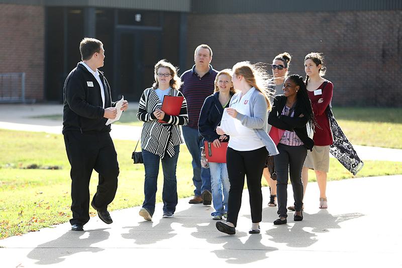 Student ambassadors lead a tour