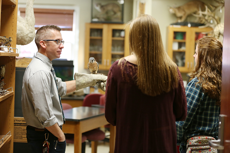 James Kerfoot shows off our hawk to prospective students
