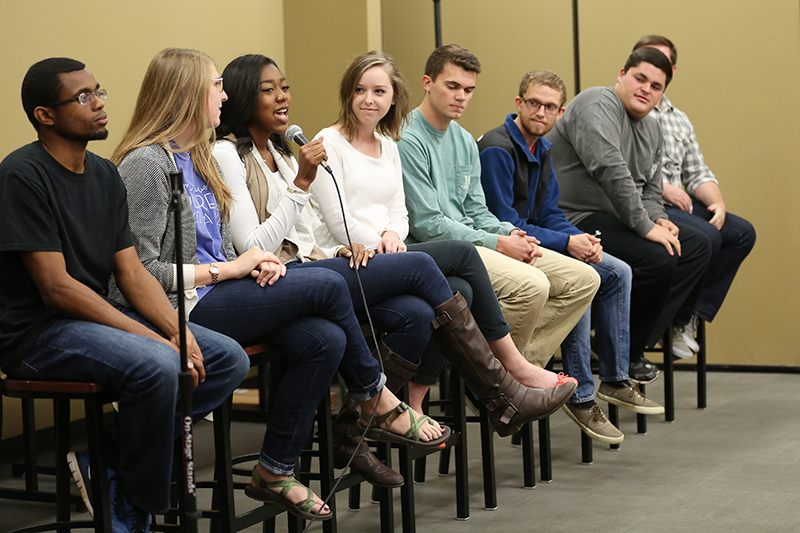 Student leaders on a panel to answer questions from prospective students