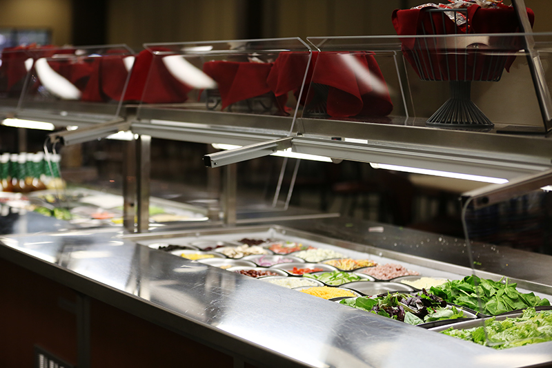 The salad bar in the Brewer Dining Hall